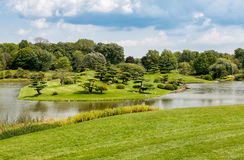 Landscape of Japanese Garden at Chicago Botanic Garden royalty free stock photography