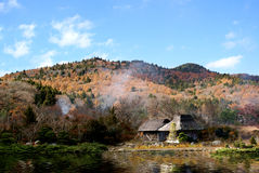 Landscape and Japanese house Stock Images