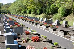 Landscape Japanese modern well maintained grave site. With red and pink flowers royalty free stock photography