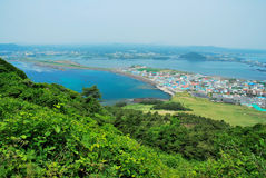Landscape of Jeju island from Sunrise Peak Royalty Free Stock Images