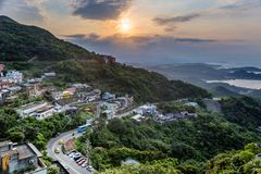 Landscape of jioufen village, taiwan royalty free stock photography