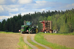 Landscape with John Deere 9520T Crawler Tractor Stock Photography
