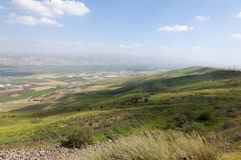 Jordan Valley and the Sea of Galilee. Landscape of Jordan Valley and the Sea of Galilee Royalty Free Stock Photos