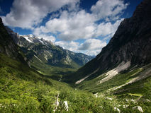 Landscape from Julian Alps, Slovenia. Post -glacial valley in Julian Alps, Slovenia Royalty Free Stock Photos