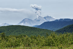 Landscape of Kamchatka: eruption active Zhupanovsky Volcano Royalty Free Stock Images