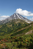 Landscape on Kamchatka: picturesque view of Viliuchinsky Volcano. Beautiful mountain landscape on Kamchatka Peninsula: picturesque view of Viliuchinsky Volcano stock photography