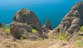 Landscape on Karadag volcanic mountain range, Black Sea shore in Crimean peninsula Royalty Free Stock Photo