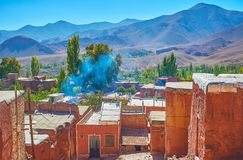 The landscape of Karkas mountains from the terrace adobe village of Abyaneh stock photography