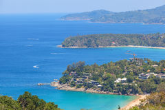 Landscape of Karon and Kata Beaches with blue sky background at Phuket Royalty Free Stock Photos