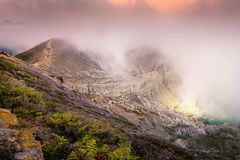 Landscape of Kawah Ijen volcano in sunrise scene of Indonesia stock photo
