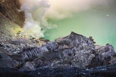 Landscape of Kawah Ijen volcano in sunrise scene of Indonesia royalty free stock image