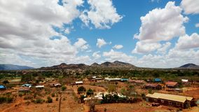 Landscape in Kenya. Landscape of savana in Kenya village and mountains Royalty Free Stock Photography