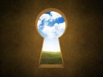 Landscape keyhole. Landscape seen through a keyhole Stock Photography