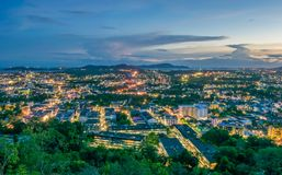 Landscape at Khao Rang Viewpoint of Phuket city in sunset, Phuket province, Thailand Stock Image