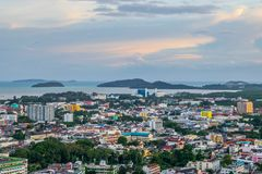 Landscape at Khao Rang Viewpoint of Phuket city in sunset, Phuket province, Thailand Stock Photo