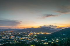 Landscape at Khao Rang Viewpoint of Phuket city in sunset, Phuket province, Thailand Royalty Free Stock Photos