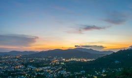 Landscape at Khao Rang Viewpoint of Phuket city in sunset, Phuket province, Thailand.  Royalty Free Stock Image