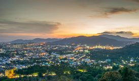 Landscape at Khao Rang Viewpoint of Phuket city in sunset, Phuket province, Thailand Royalty Free Stock Photography