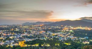 Landscape at Khao Rang Viewpoint of Phuket city in sunset, Phuket province, Thailand Stock Images