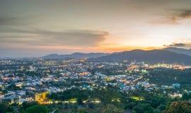 Landscape at Khao Rang Viewpoint of Phuket city in sunset, Phuket province, Thailand.  Royalty Free Stock Photo