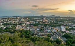 Landscape at Khao Rang Viewpoint of Phuket city in sunset, Phuket province, Thailand.  Stock Photography