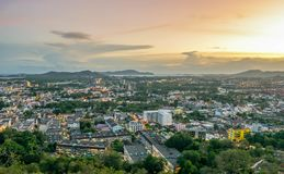 Landscape at Khao Rang Viewpoint of Phuket city in sunset, Phuket province, Thailand.  Royalty Free Stock Photography