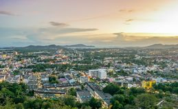 Landscape at Khao Rang Viewpoint of Phuket city in sunset, Phuket province, Thailand.  Stock Image