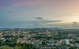 Landscape at Khao Rang Viewpoint of Phuket city in sunset, Phuket province, Thailand.  Stock Photos