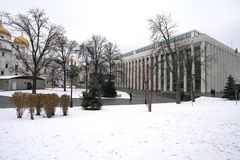 Landscape at Klemlin Palace of Congress Moscow, Russia stock photos