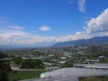 Landscape of Kofu Basin in Yamanashi, Japan Royalty Free Stock Image