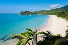 Landscape of Koh Lanta Kantiang Bay. Summer seascape on tropical koh Lanta island in Thailand. Landscape taken on Ba Kantiang Bay with blue sky stock images