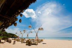 Landscape of Koh Lanta Klong Jark bay. Summer seascape on tropical koh Lanta island in Thailand. Landscape taken on Klong Jark bay with blue sky stock photo