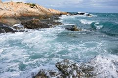 Landscape in Koh Samet. Wave crashing the rocks, at Koh Samet in Rayong Province, Thailand Stock Photos