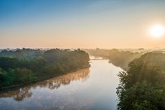 Landscape of kok river in the morning at chiang rai province Thailand stock image