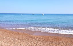 Landscape of Koroni beach Messinia Peloponnese Greece. Famous greek summer places Stock Photo