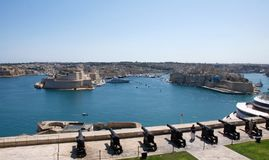 Landscape of Malta: Valletta, L-Isla and Il-Birgu. Landscape of L-Isla, Il-Birgu, Grand Harbour and Saluti Battery in Valletta, Malta. This is one of the most Stock Image
