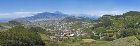 Landscape of La Laguna City, Tenerife, Spain. With Teide mountain , rodeos airport Stock Photography