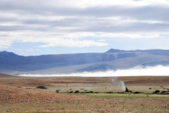 Landscape in Ladack. Changpa nomad cooking at an altitude of circa 15.000 ft asl Stock Photo