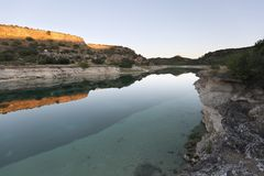 Landscape in the lagoons of Ruidera at sunset. stock image