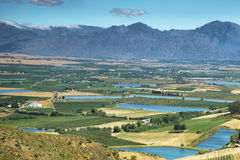 Landscape of lagoons and vineyards from Gydo Pass, Stock Images