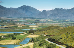 Landscape of lagoons and vineyards from Gydo Pass, Royalty Free Stock Photography
