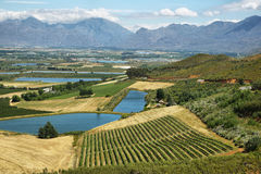 Landscape of lagoons and vineyards from Gydo Pass, Royalty Free Stock Images