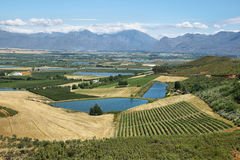 Landscape of lagoons and vineyards from Gydo Pass, Stock Image