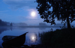 Landscape on the lake. In moonlight stock photo