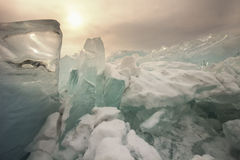 Landscape of Lake Baikal in winter Stock Photos