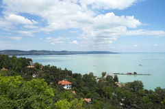 Landscape on Lake Balaton. Beautiful panorama from Tihany peninsula on Lake Balaton Royalty Free Stock Photo