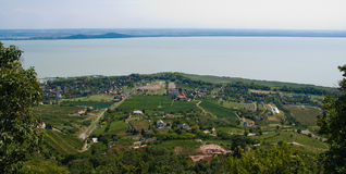 Landscape with lake Balaton royalty free stock photos