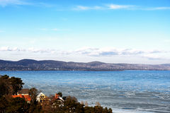 Landscape of Lake Balaton in winter time Royalty Free Stock Photography