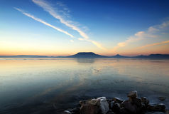 Landscape of Lake Balaton in winter time, Hungary Stock Photos