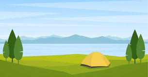 Landscape with lake or bay, tend and mountains on horizon. Vector illustration: Landscape with lake or bay, tend and mountains on horizon Royalty Free Stock Image
